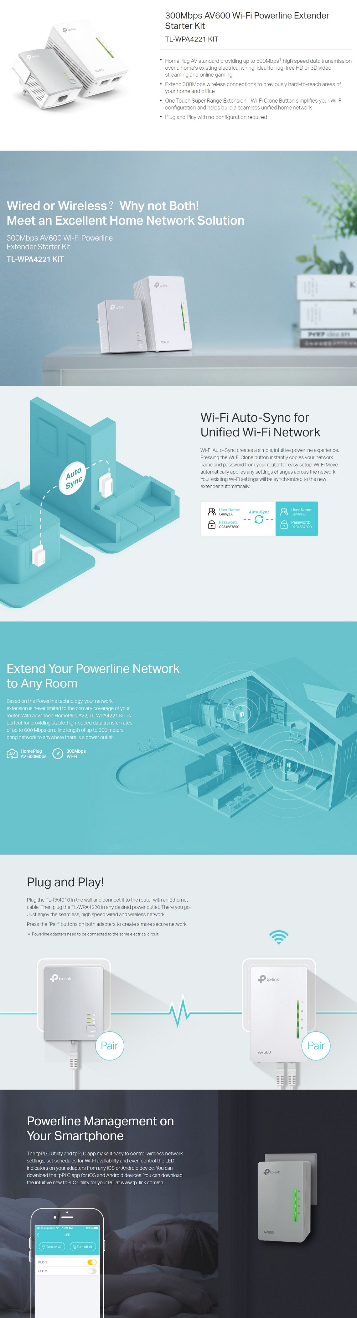 TP-Link TL-WPA4221 KIT 300Mbps AV600 Wi-Fi Powerline Extender Starter Kit