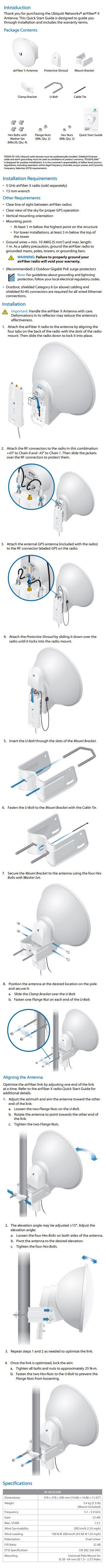 Ubiquiti Networks airFiber X AF-5G23-S45 5GHz 23dBi Antenna Dish