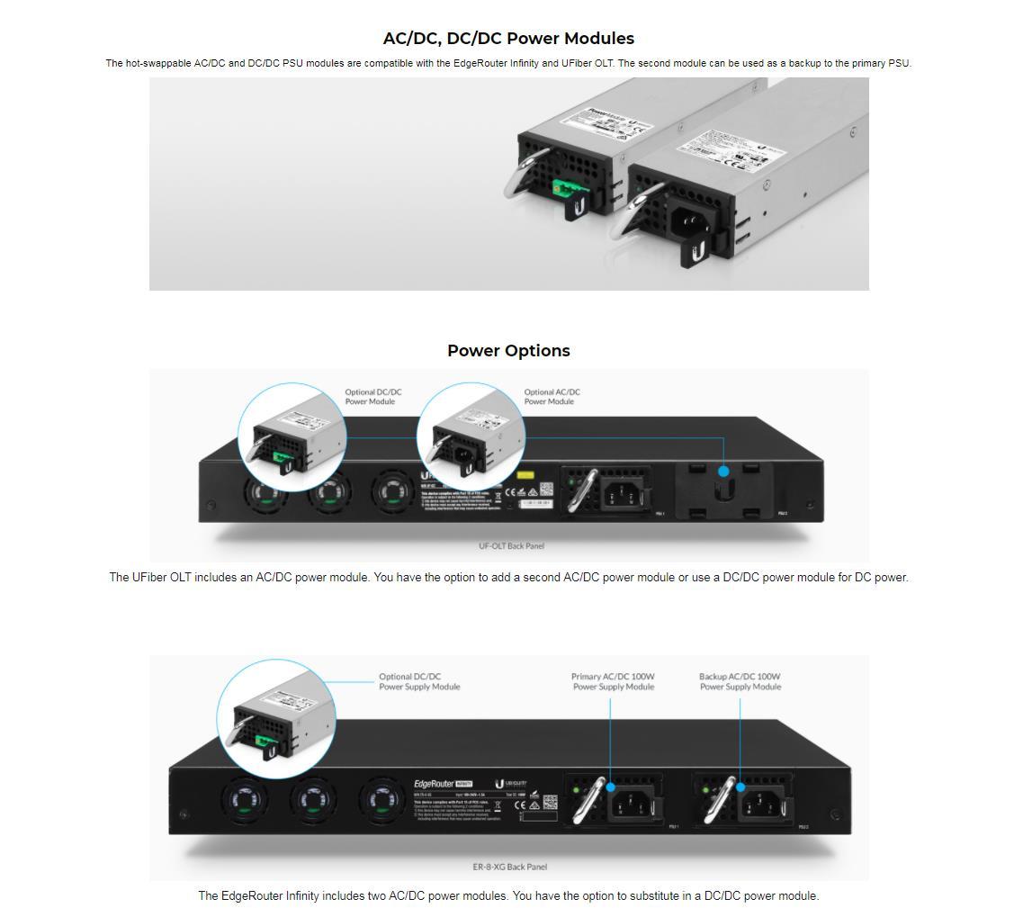 Ubiquiti Redundant Power Supply EdgeRouter Infinity DC-module 100W RPS-DC-100W