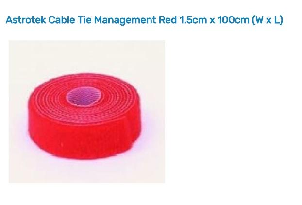 Astrotek Cable Tie Management Red 1.5cm x 100cm (W x L) AT-CABLEMANAGEMENT