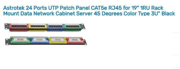 Astrotek 24 Ports UTP Patch Panel CAT5e RJ45 for 19' 1RU Rack Mount Data Network