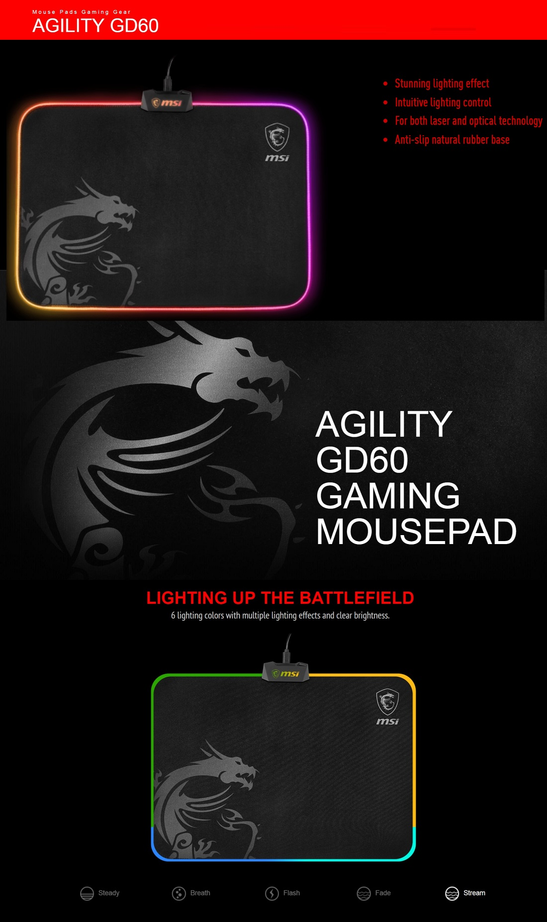 MSI Agility GD60 RGB Gaming Mousepad Micro-textured Cloth Surface 900*400*4mm