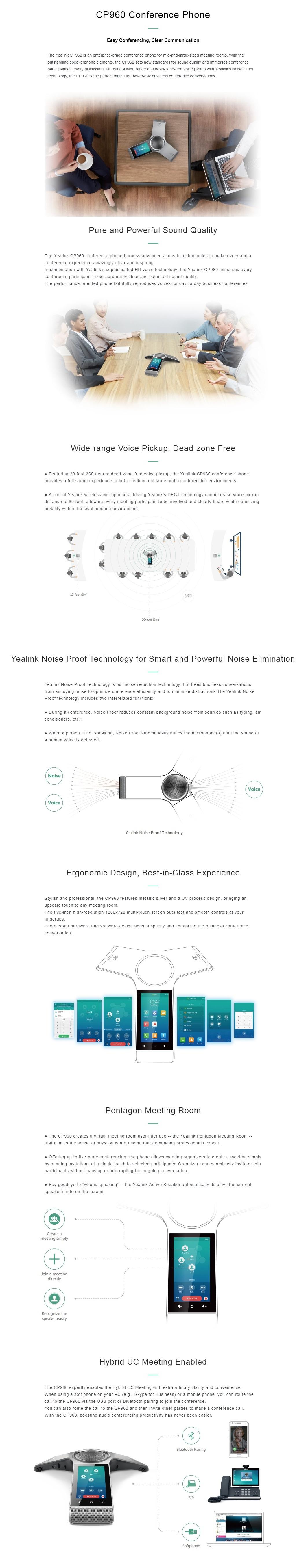 Yealink CP960 Optima HD IP Conference Phone Optima HD Voice, Full Duplex W/O PSU