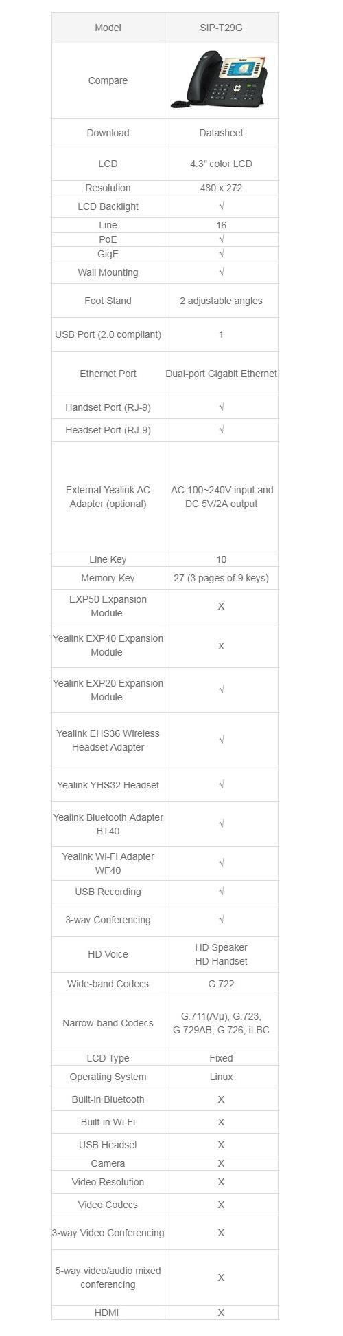 Yealink T29G 6 Line IP Phone 480x272 LCD 27 Program Keys Dual Gigabit Ports USB