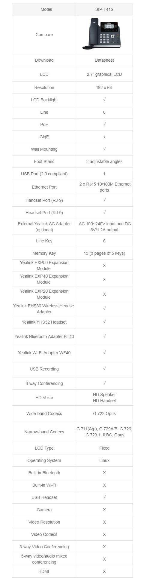 Yealink T41S 6 Line IP Phone 2.7