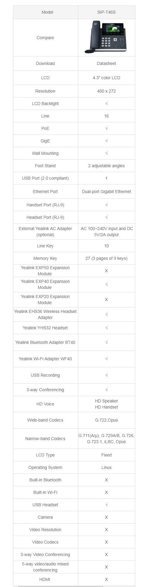 Yealink T46S 16 Line IP Phone 4.3
