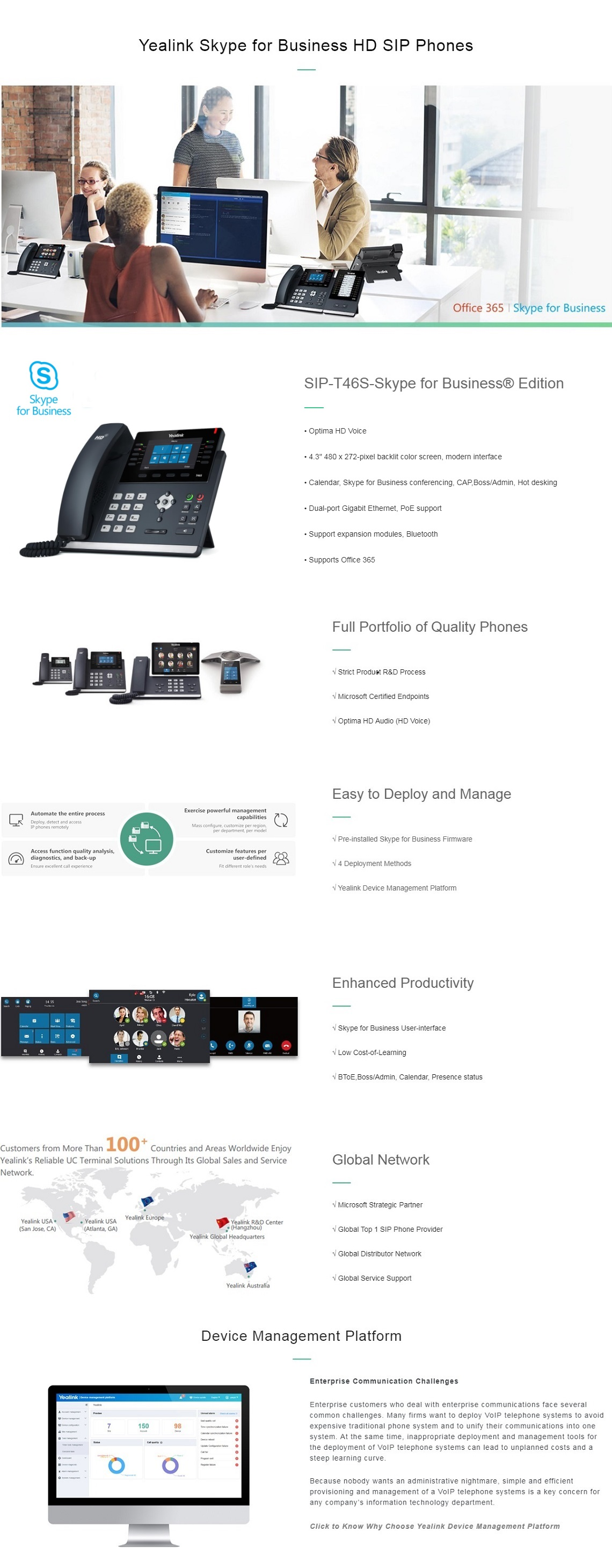 Yealink T46S Skype for Business Edition 16 Line IP phone 4 3