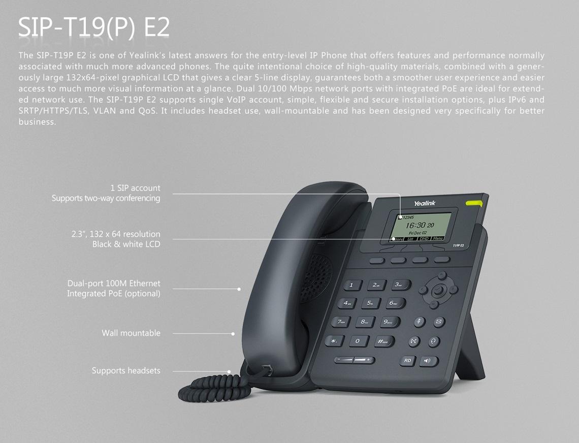 Yealink T19P E2 Enterprise HD IP Phone Entry-Level Single Line IP Phone