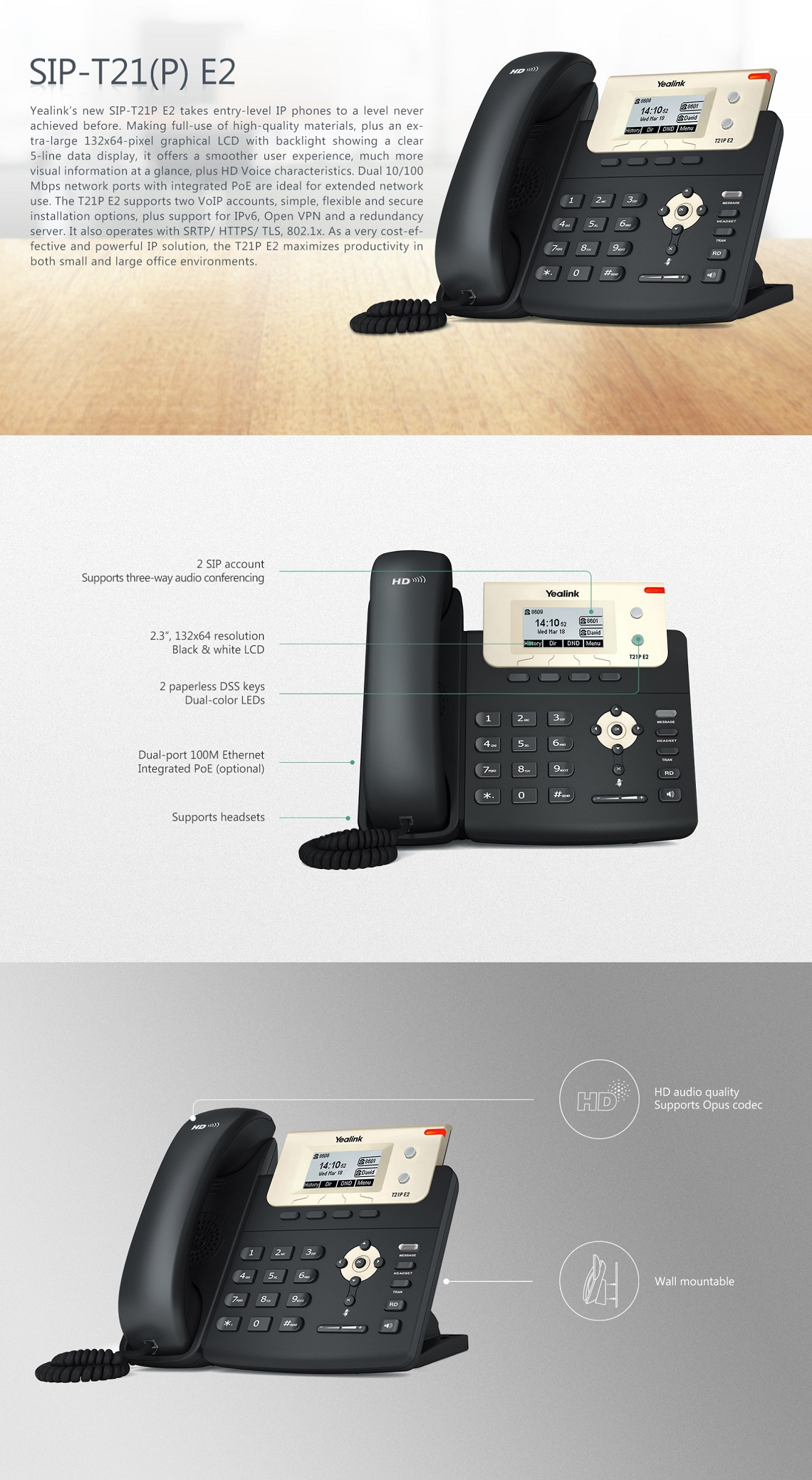 Yealink T21P E2 Enterprise HD IP Phone Entry-level IP Phone with 2 Lines