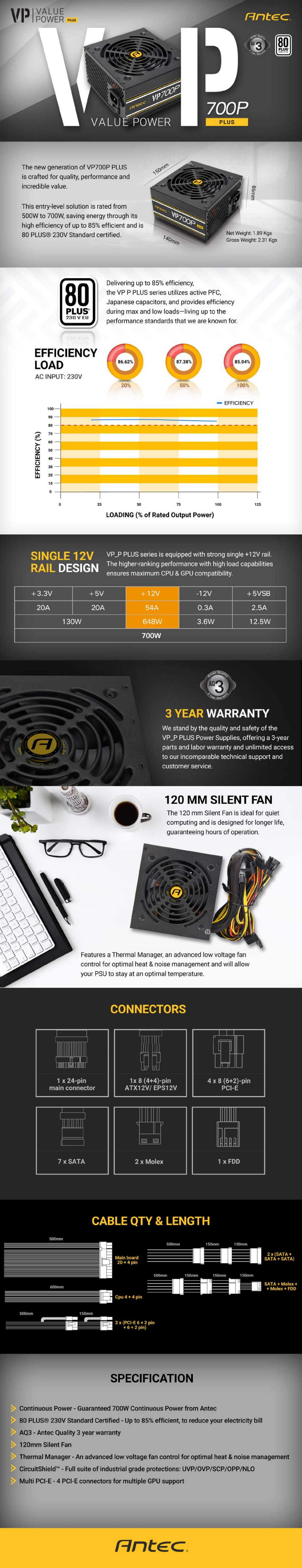 Antec VP700 PLUS 700w PSU 120mm Silent Fan PLUS 2019 version MEPS Compliant