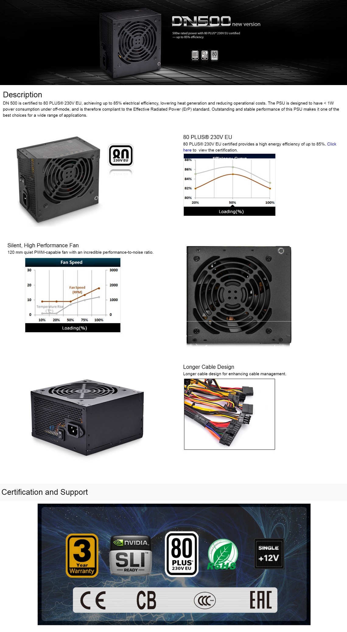 DeepCool 500w DN500 PC PSU Power Supply 80+ Certified 120mm Silent Performance