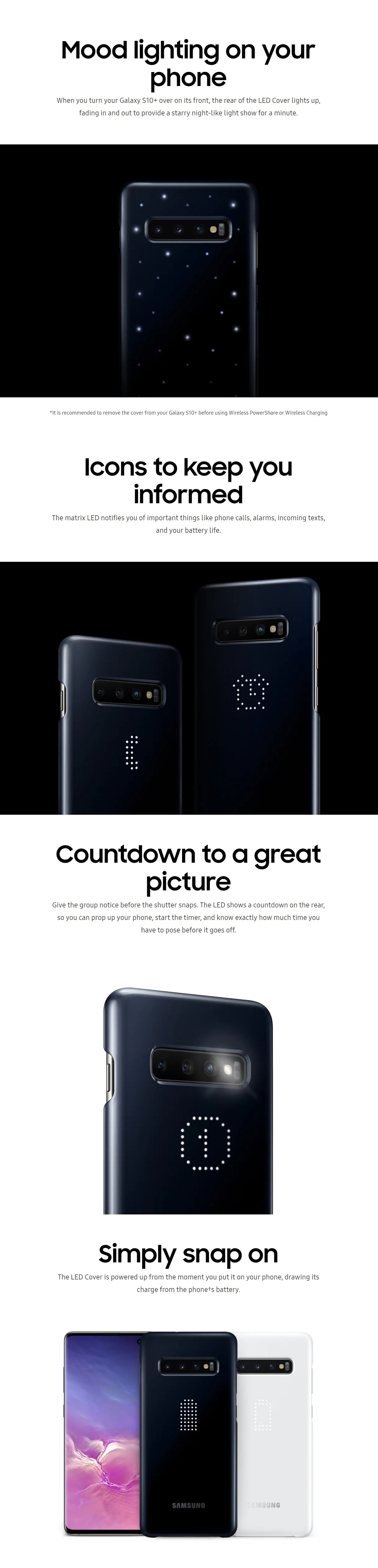 Samsung Galaxy S10+ LED Cover Mood Lighting Emoticon and Camera Timer LED Display