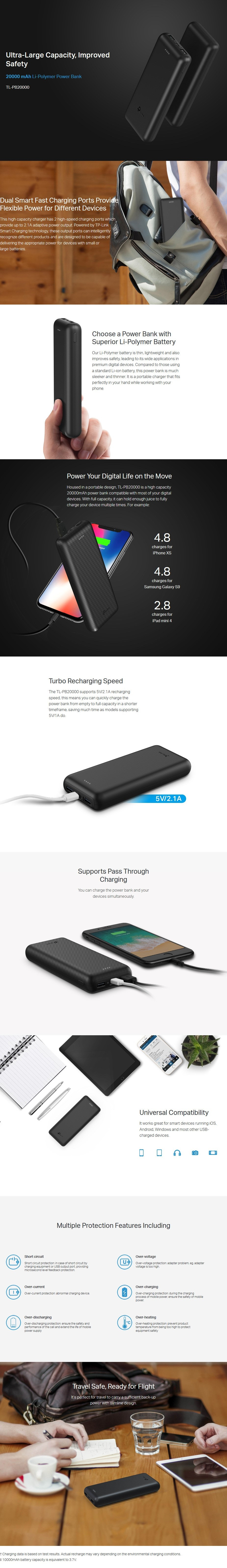 TP-Link TL-PB20000 20000mAh Li-Polymer Power Bank w/ 2 High-speed Charging Ports