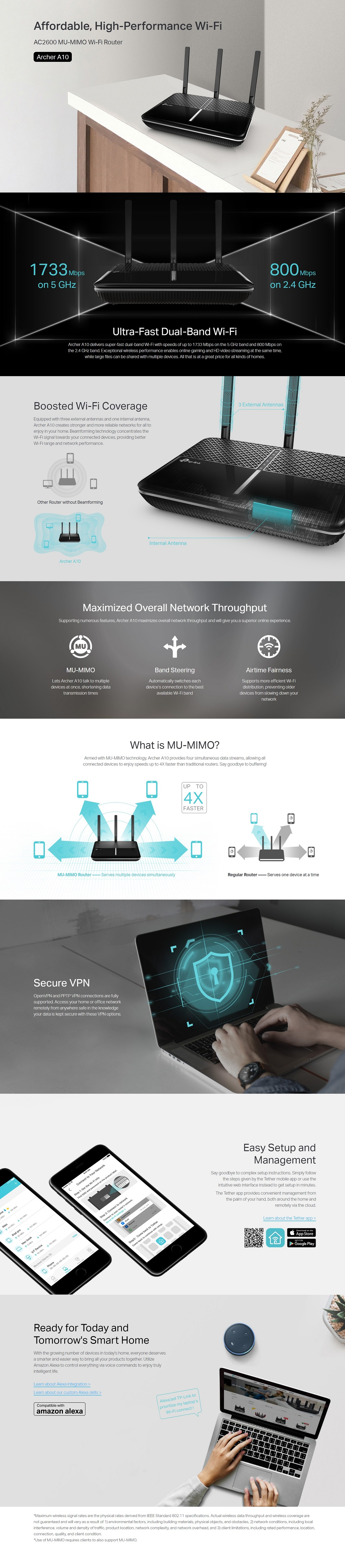 TP-Link Archer A10 AC2600 Wireless MU-MIMO Secure Remote Access Gigabit Router
