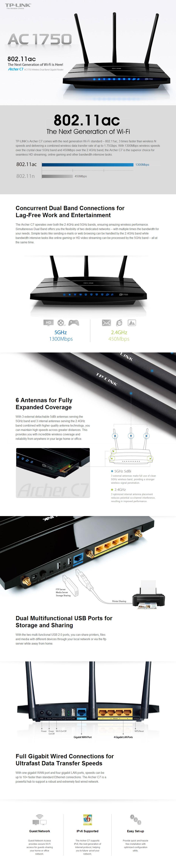 TP-Link Archer C7 AC1750 Wireless Dual Band Gigabit Router NBN Ready 802.11AC