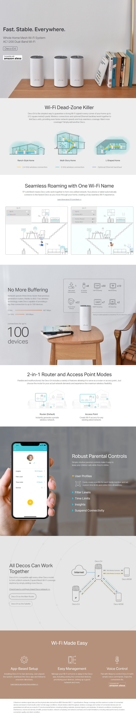 TP-Link Deco E4 (3-pack) AC1200 Whole Home Mesh Wi-Fi System Deco E4 Three Pack