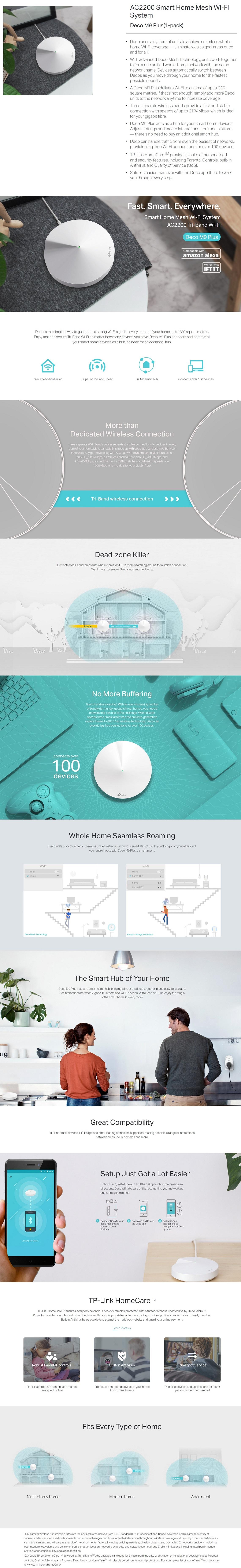 TP-Link Deco M9 Plus 1 Pack AC2200 Smart Home Mesh Wi-Fi System TP-Link Homecare