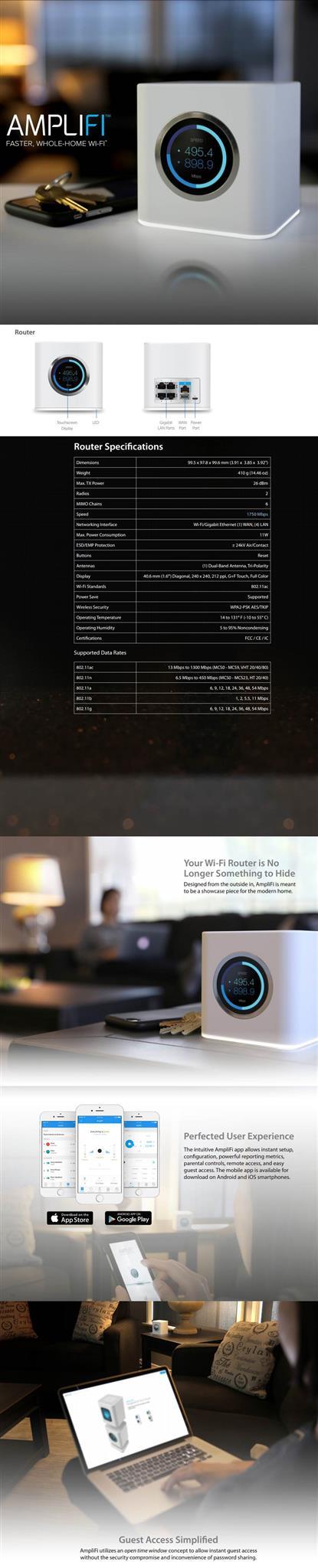 Ubiquiti 3 Router AFI-R-3-AU AMPLIFI High Density HD Home Wi-Fi Router Mesh Bund