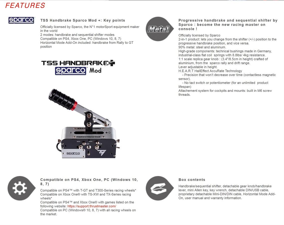 Thrustmaster TSS Handbrake Sparco Mod + Handbrake Shifter For PC, Xbox One & PS4
