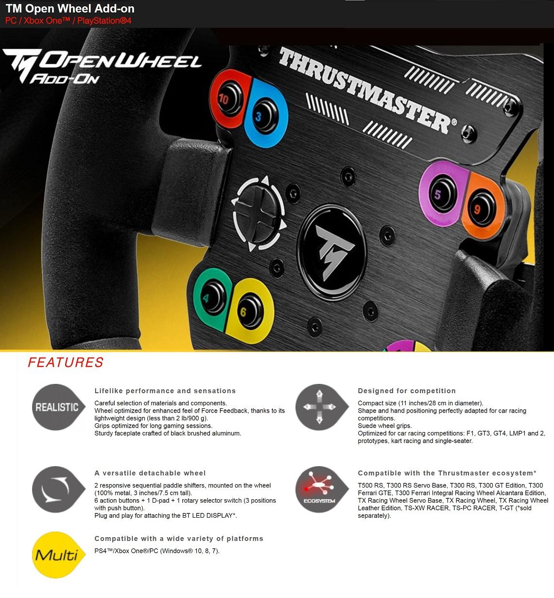 Thrustmaster TM Open Wheel Add-On Detachable Wheel Rim For PC, Xbox One & PS4