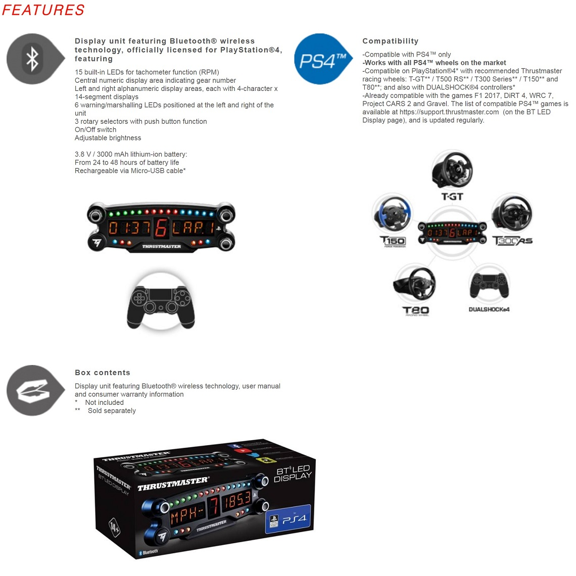 Thrustmaster BT LED Display For PS4 Bluetooth LEDs Gear Indicator PlayStation 4