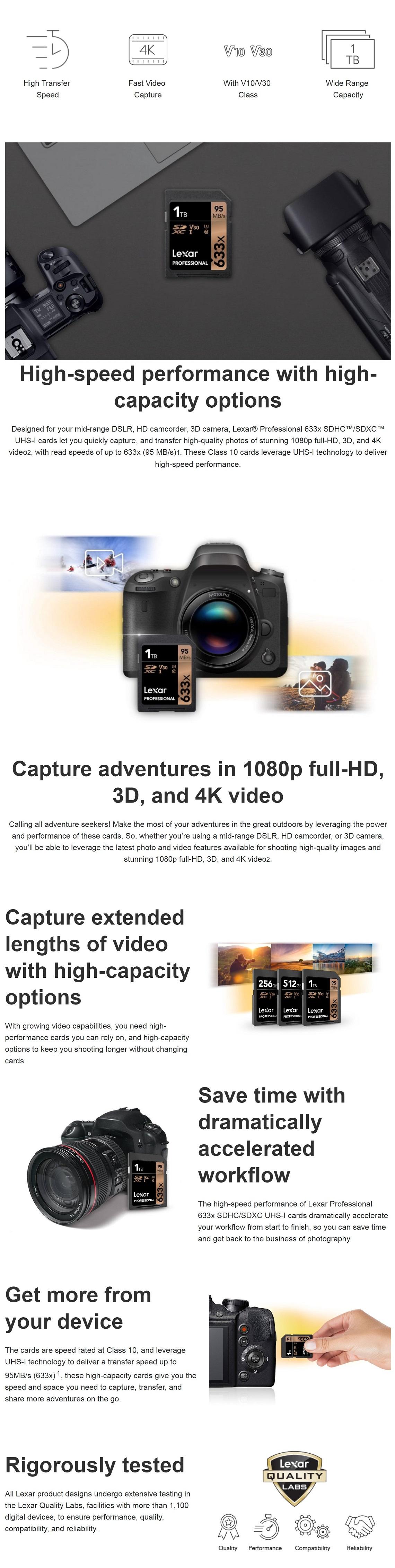 Lexar 512GB Professional 633x SDXC UHS-I Card - Upto 95MBs Read/45MBs Write 4K