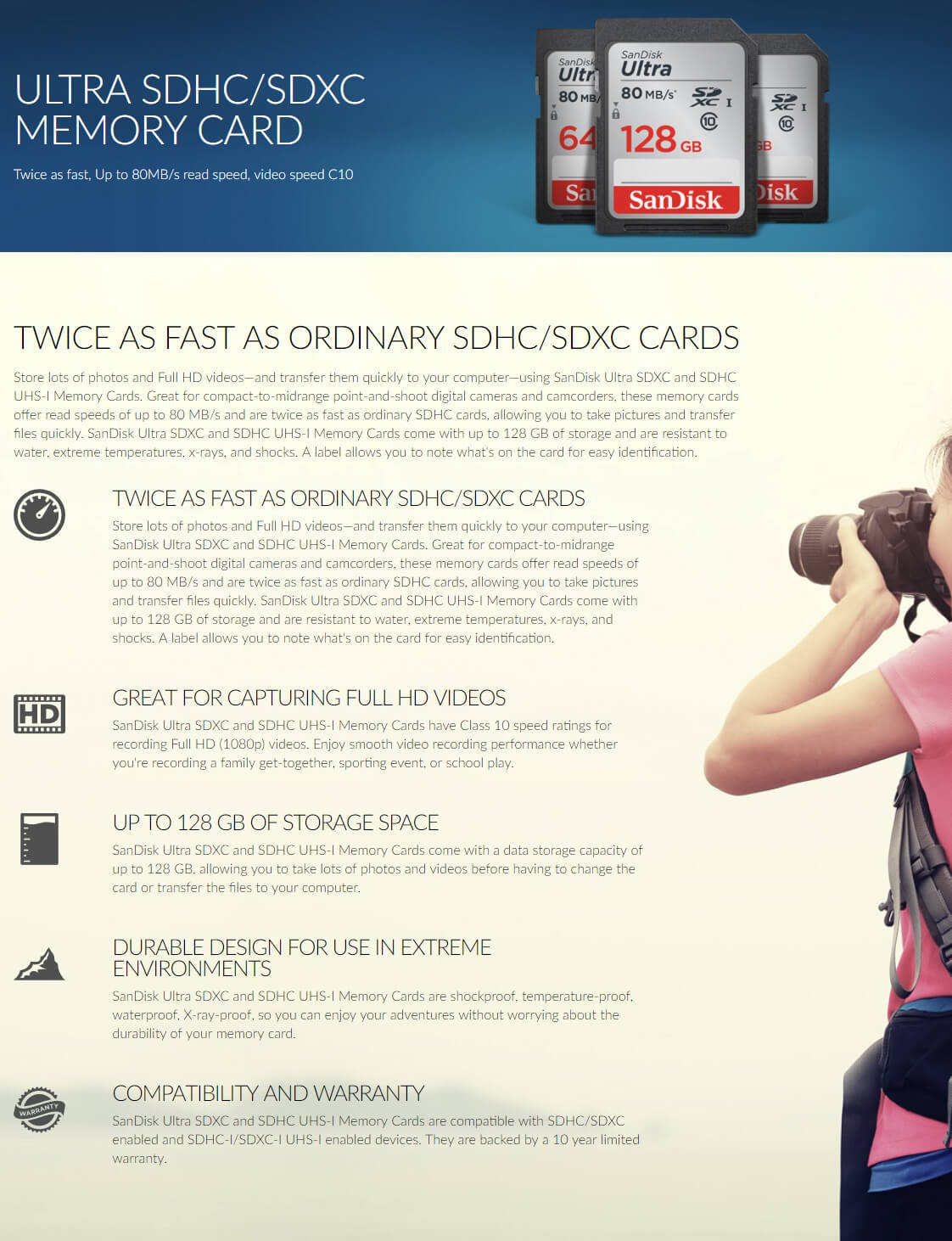 SanDisk Ultra 16GB SDHC up to 80MB/s SD Card CLASS 10, UHS-1 SDSDUNC-016G-GN6IN