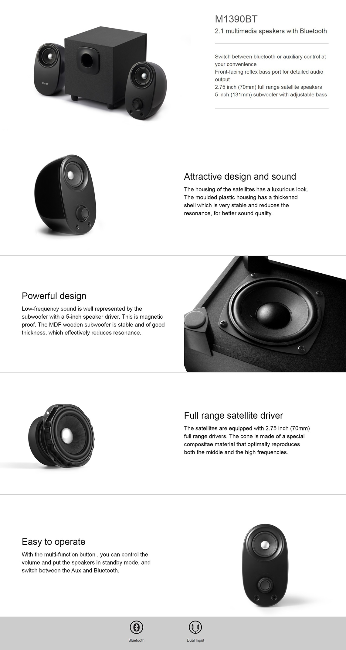 Edifier M1390BT 2.1 Bluetooth Multimedia Speakers with Bluetooth & Dual Input
