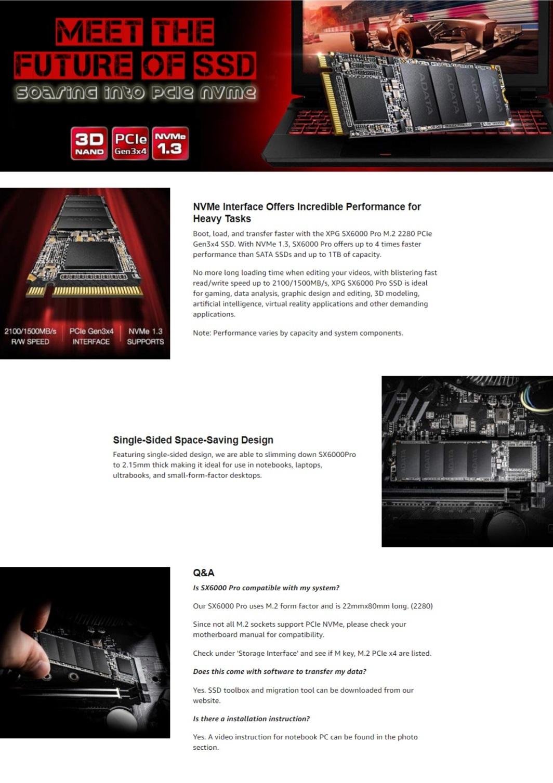 Adata 1TB SSD XPG SX6000 Pro PCIe Gen3x4 M.2 2280 Solid State Drive 2100MB/s