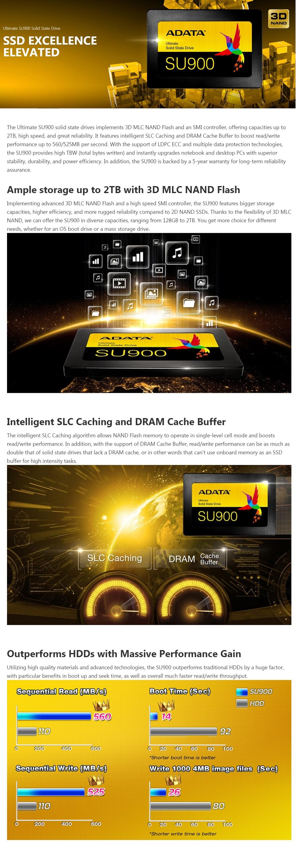 Adata 256GB SSD Ultimate SU900 3D NAND MLC 2.5