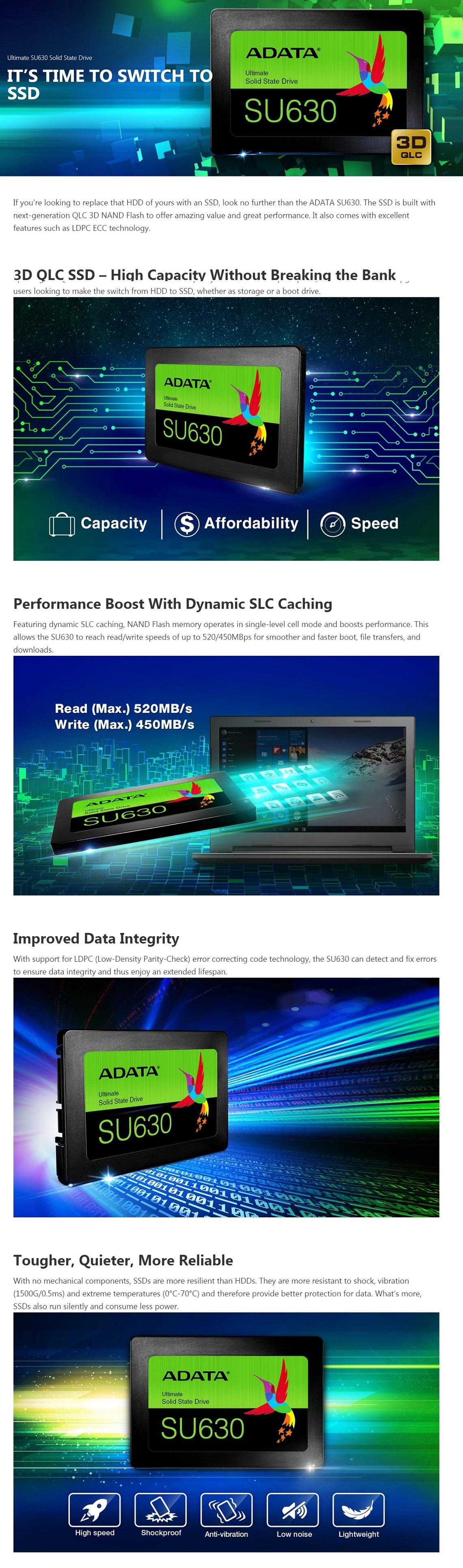 Adata 480GB Ultimate SU630 Solid State Drive QLC 3D NAND Flash SATA 2.5
