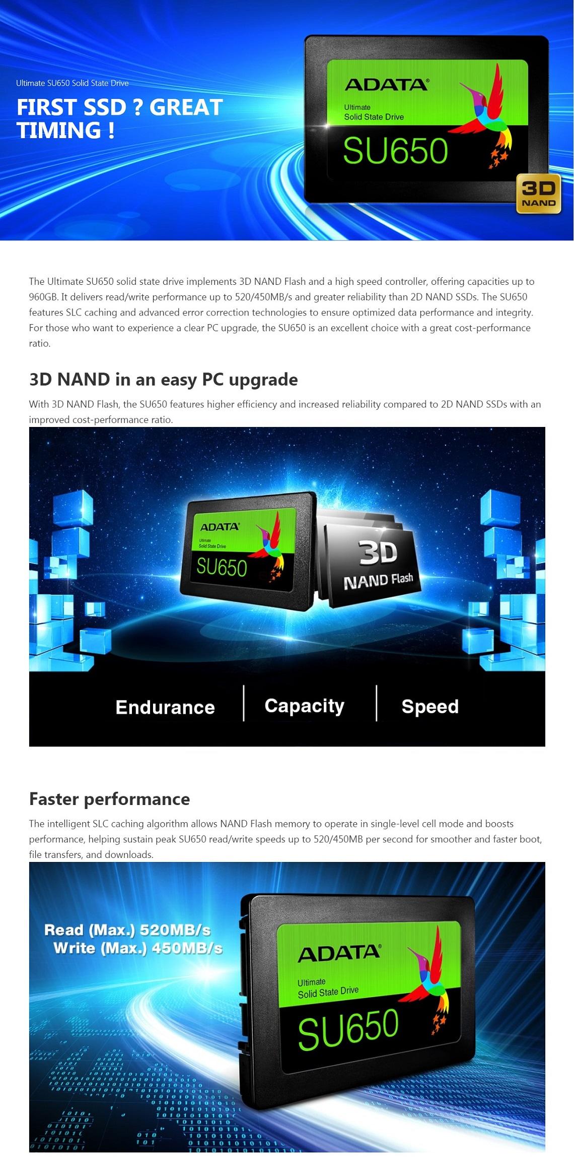 Adata 480GB Ultimate SU650 Solid State Drive 3D NAND Flash SATA3 6Gb/s 2.5