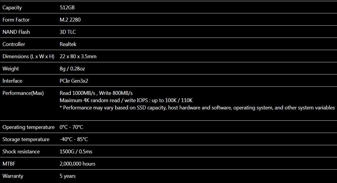 ADATA XPG SX6000 512GB 3D NAND SSD M.2 2280 NVMe Solid State Drive ASX6000NP-512