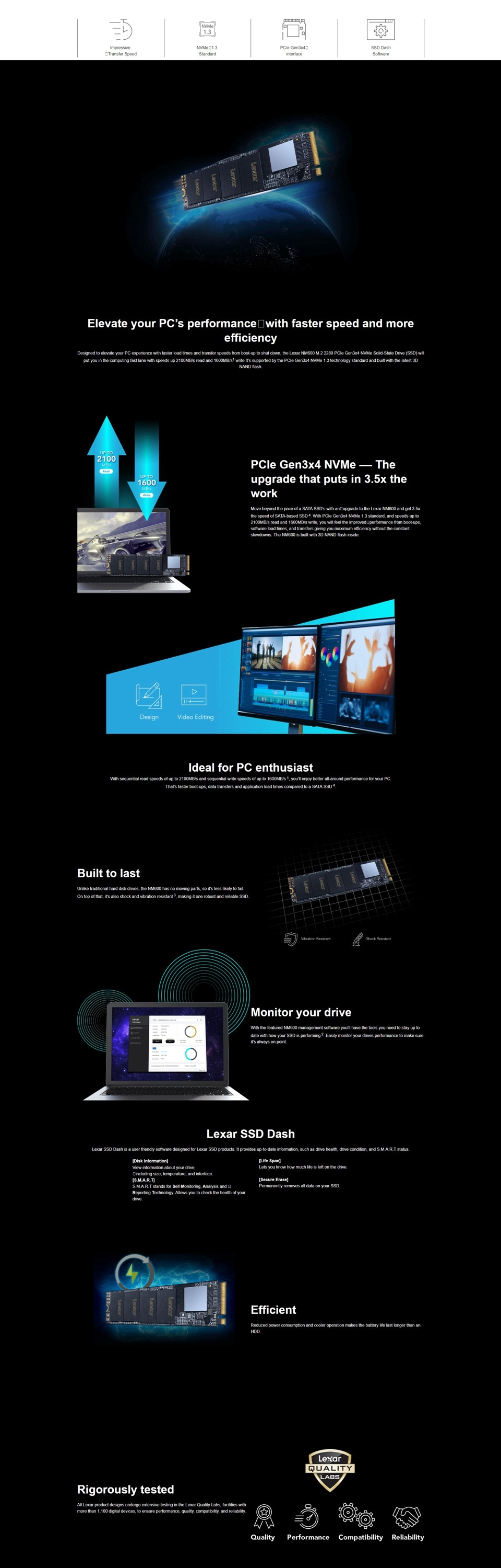 Lexar 480GB NM600 M.2 2280 NVMe PCIE SSD Solid State Drive 2100MB/1600MB R/W