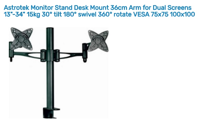 Astrotek Dual Screen Monitor Stand Desk Mount 36cm Arm for 13