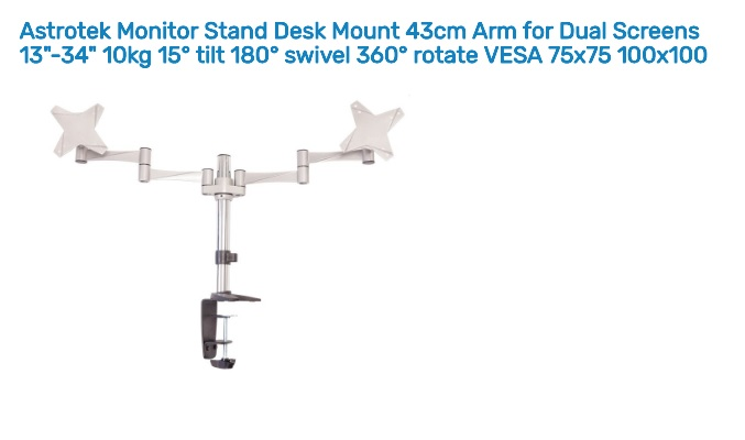 Astrotek Dual Screen Monitor Stand Desk Mount 43cm Arm for 13