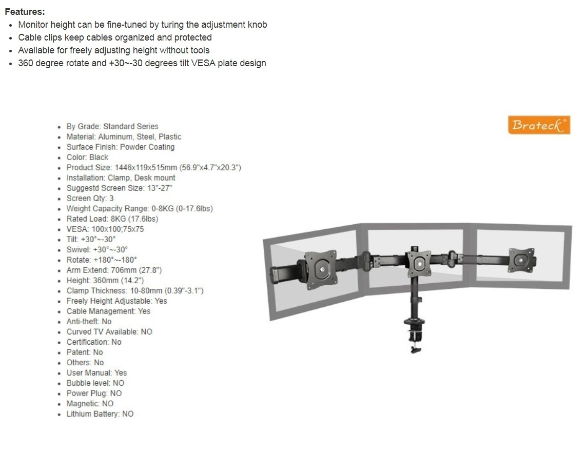 Brateck Outstanding Three LCD Desk Mounts with Desk Clamp VESA 75/100mm Upto 27
