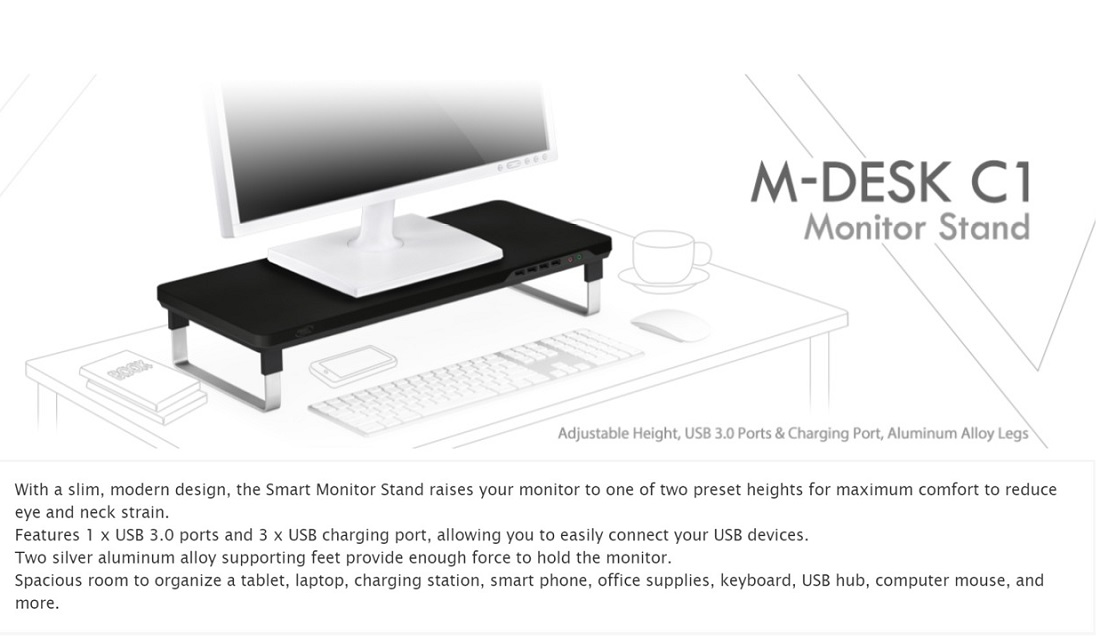 DeepCool M-Desk C1 Monitor Stand With USB Charger & USB 3.0 Port Black & Grey