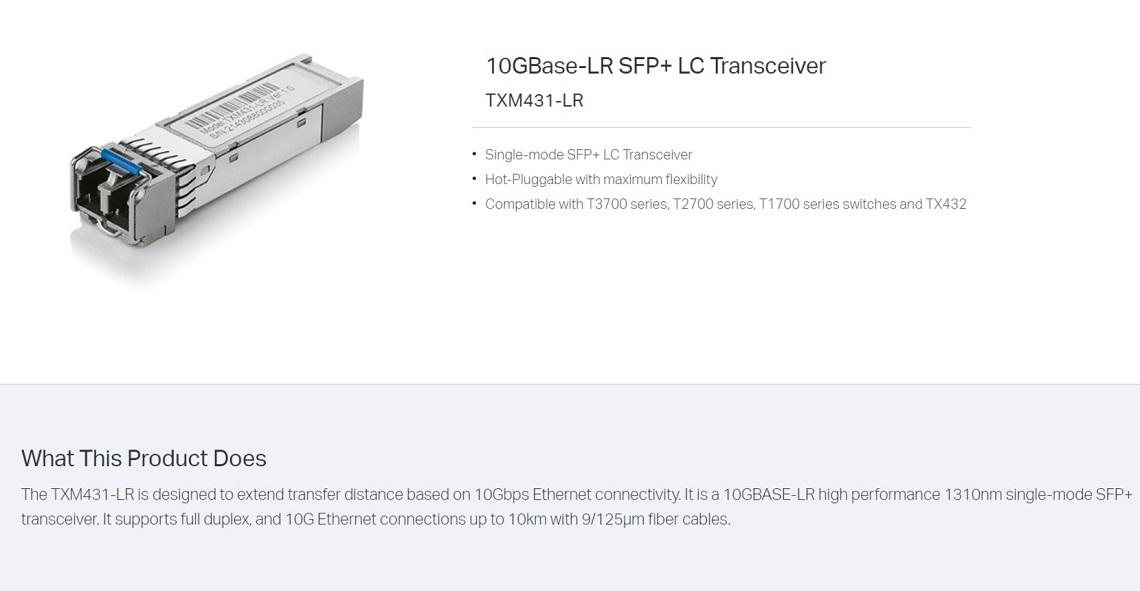 TP-Link TXM431-LR 10G Base-LR SFP+ LC Transceiver Single Mode Hot-Pluggable SFP+