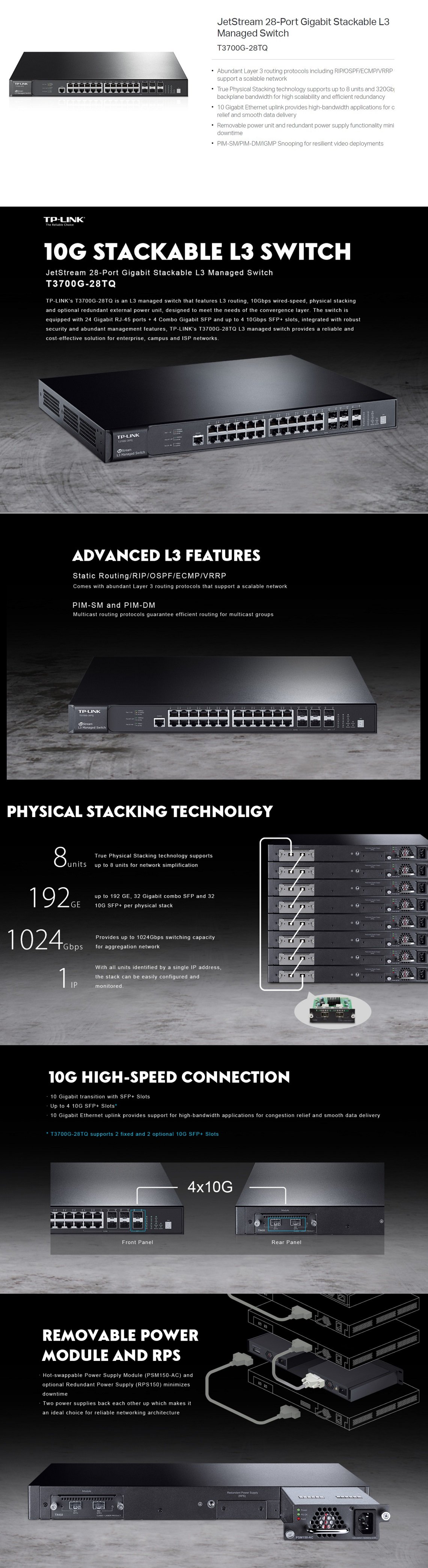 TP-Link T3700G-28TQ JetStream 28-Port Gigabit Stackable L3 Managed Switch 10GbE