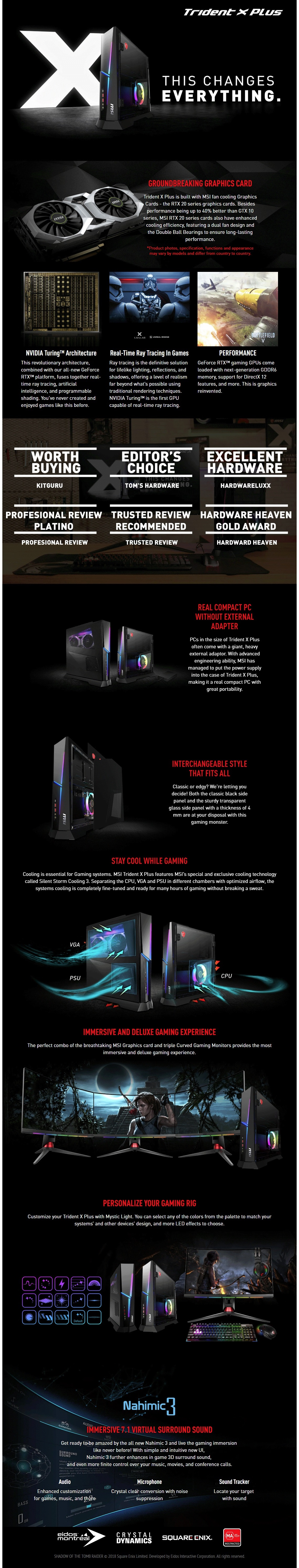 MSI Trident X Plus Gaming Desktop Intel i7-9900K 32GB RAM 2TB+512GB SSD RTX2080