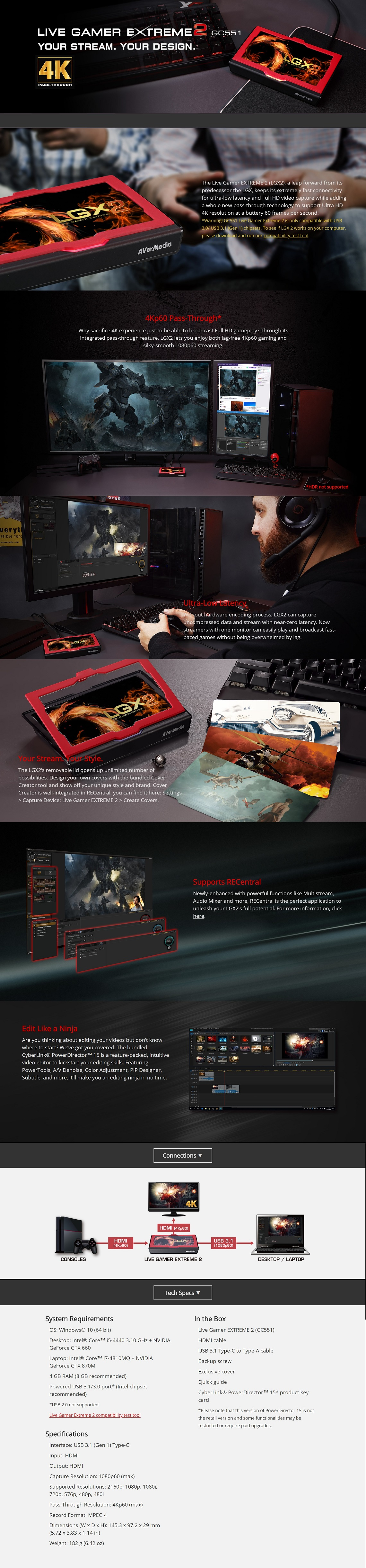 Details about AVerMedia GC551 Live Gamer Extreme 2 USB3 1 4K 1080P 60FPS  Video Capture LGX2