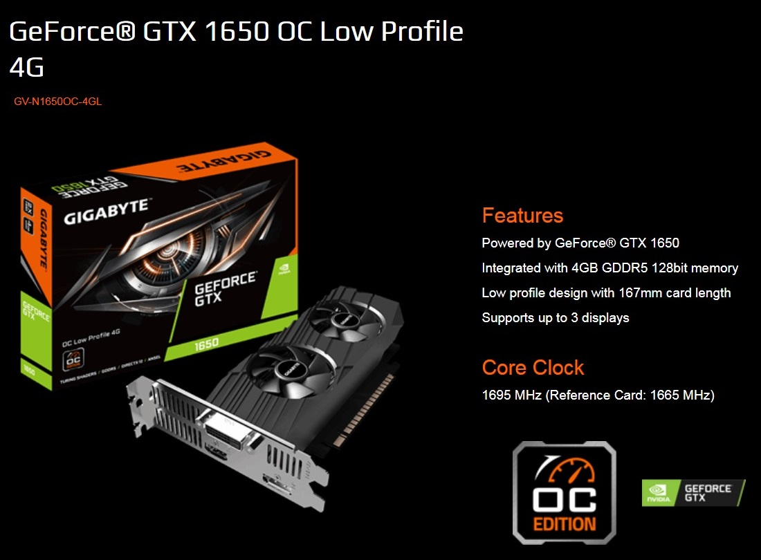 Gigabyte GTX 1650 OC 4GB Low Profile GDDR5 PCIe Video Cards 8K@60Hz DP HDMI DVI