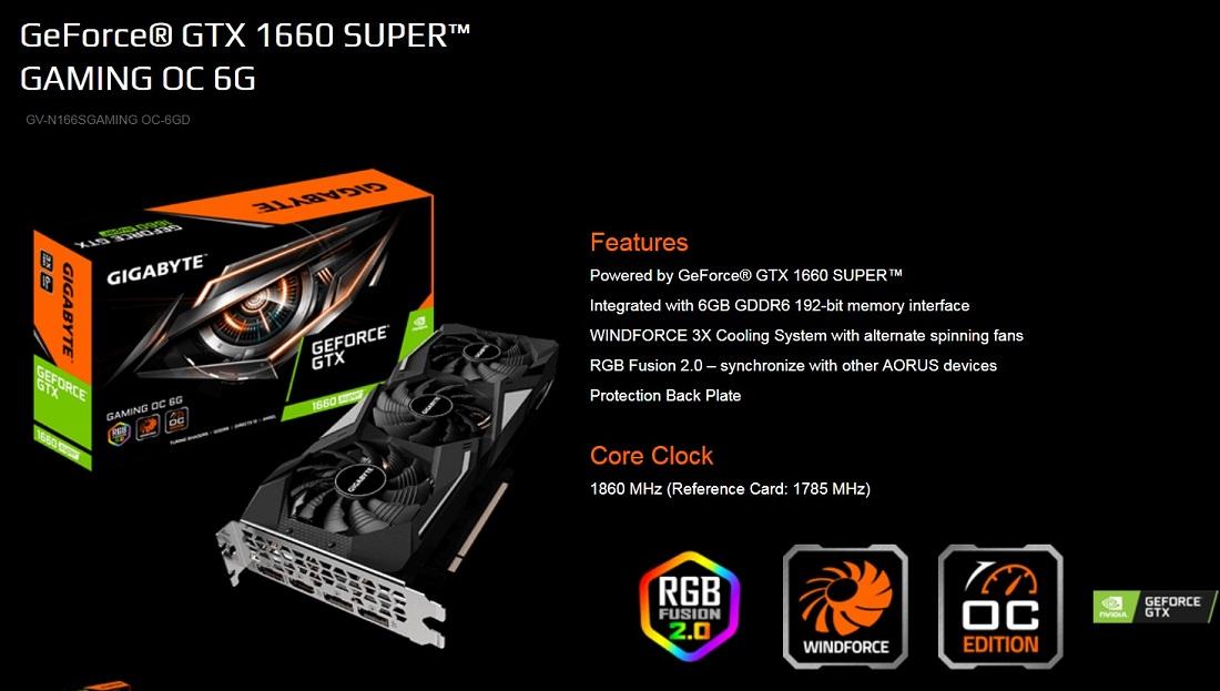 Gigabyte GTX 1660 Super Gaming OC 6GB PCIe Video Card 8K DP HDMI RGB 1860MHz
