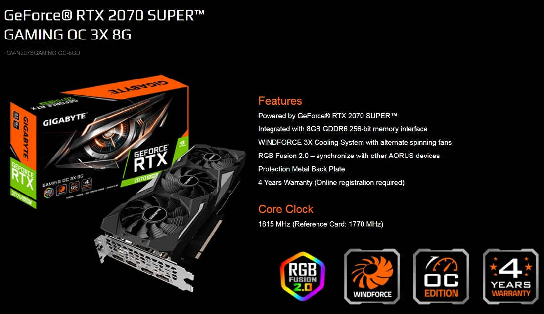 Gigabyte RTX 2070 Super Gaming OC 3X 8GB PCIe Graphics Card DP HDMI 1815MHz RGB