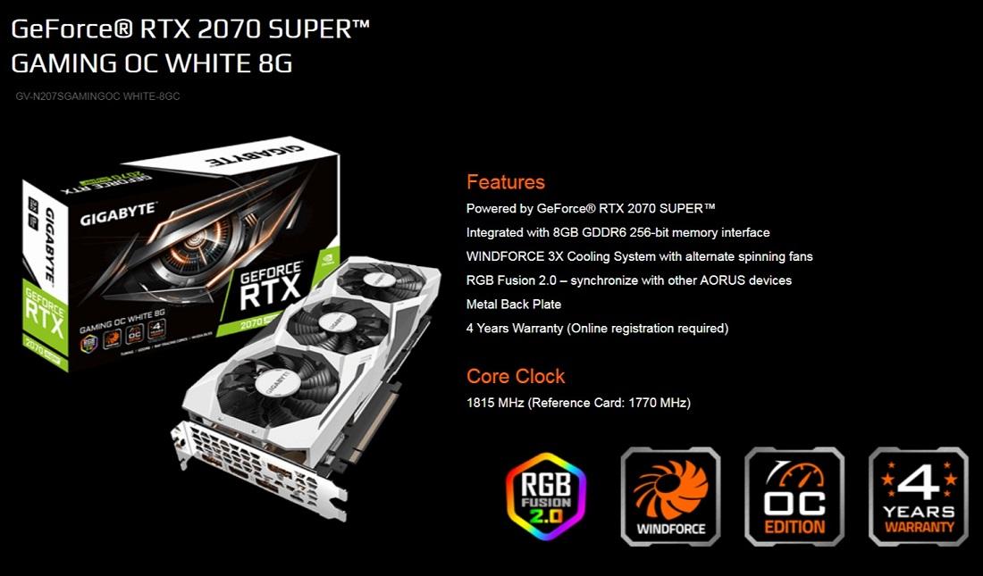 Gigabyte RTX 2070 Super Gaming OC 8GB White PCIe Graphics Card DP USB-C HDMI RGB