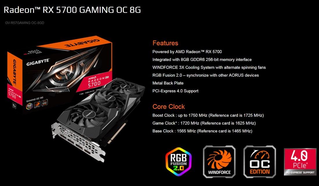 Gigabyte AMD Radeon Navi RX 5700 Gaming OC 8G PCIe 4.0 Graphics Card 8K DP HDMI