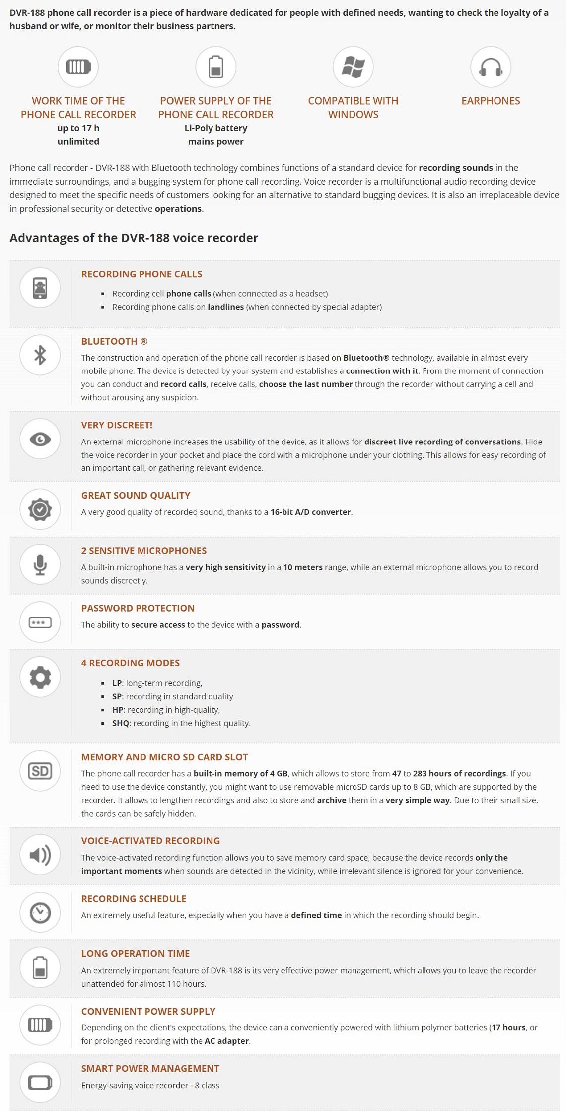 Hnsat DVR-188 4GB Bluetooth Digital Voice Recorder Phone Call Recorder Rec/TF